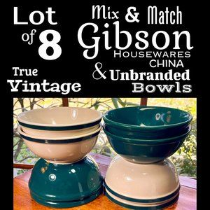 ▪️VTG▪️GIBSON▪️Lot of 8 Green Cream Ceramic Bowls